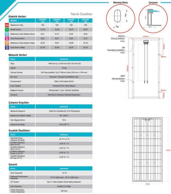Alfa Solar 36 Hücreli Polikristal Teknik Özellikleri