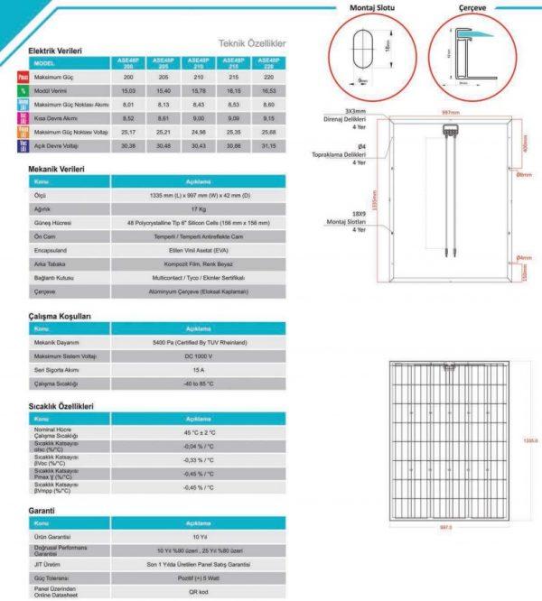 Alfa Solar 48 Hücreli Polikristal Teknik Özellikleri