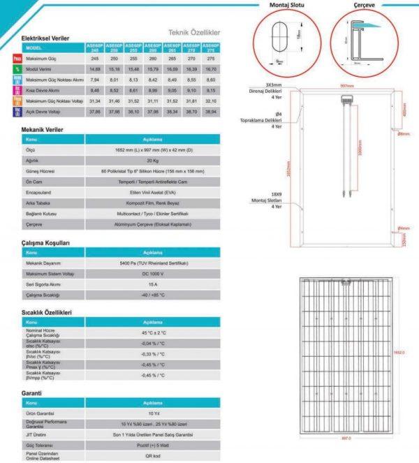 Alfa Solar 60 Hücreli Polikristal Teknik Özellikleri