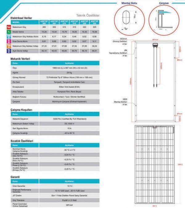 Alfa Solar 72 Hücreli Polikristal Teknik Özellikleri